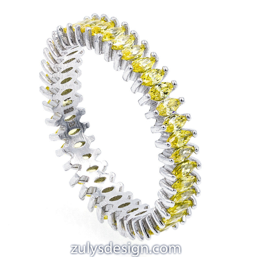 ZDR2137-Y STERLING SILVER 925 RHODIUM PLATED YELLOW STACKABLE CZ RING
