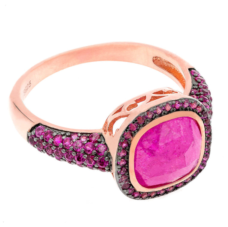 ZDR2139R-RG STERLING SILVER 925 ROSE GOLD PLATED RUBY CZ RING