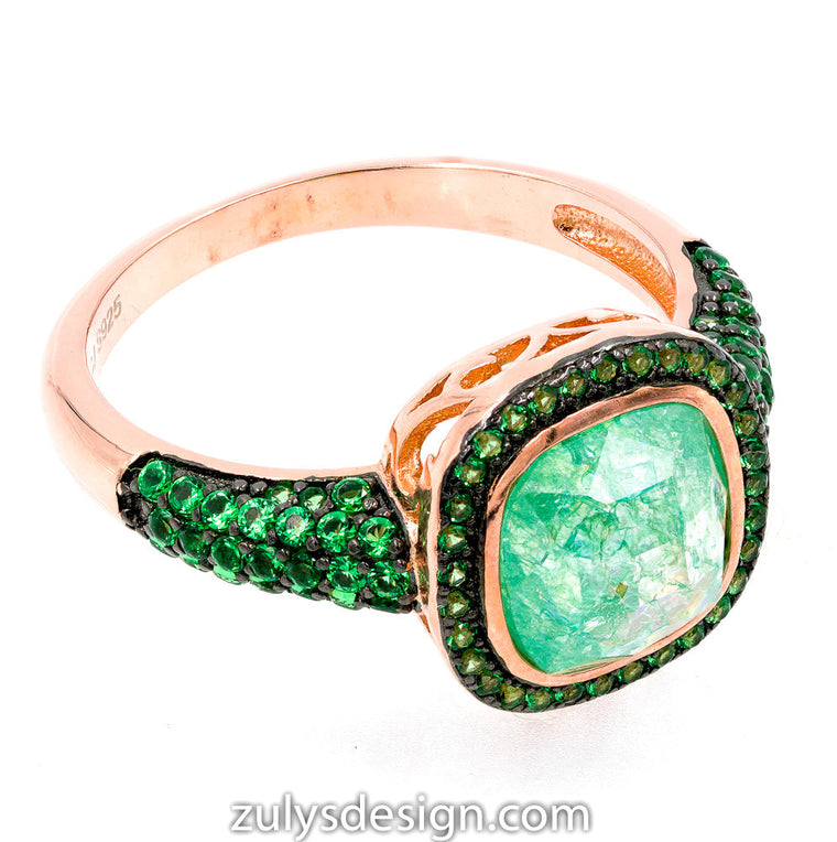 ZDR2139G-RG STERLING SILVER 925 ROSE GOLD PLATED GREEN CZ RING