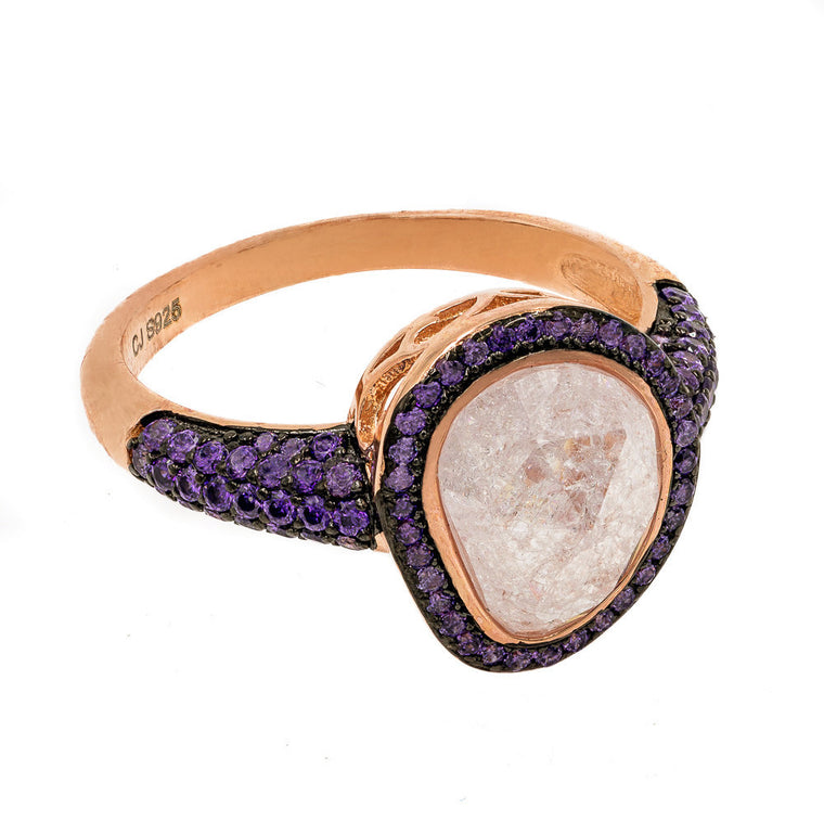 ZDR2140IP-R STERLING SILVER 925 ROSE GOLD PLATED AMETHYST COLOR CZ RING