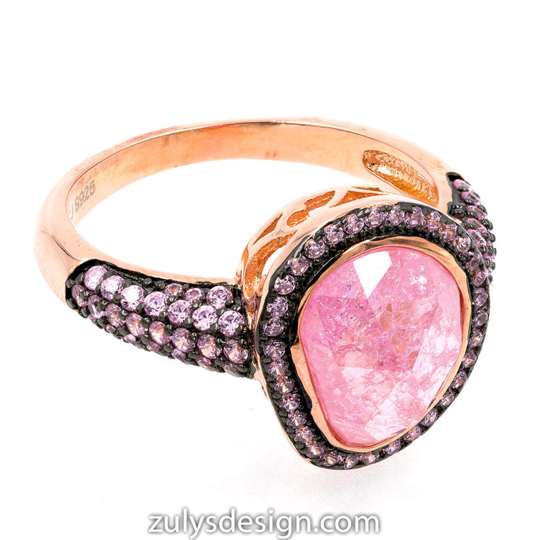 ZDR2140RP-RG STERLING SILVER 925 ROSE GOLD PLATED PINK CZ RING