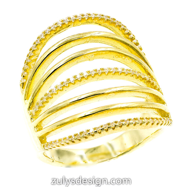 ZDR2353-G STERLING SILVER 925 GOLD PLATED CLEAR CUBIC ZIRCONIA RING