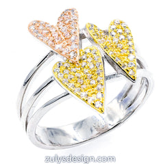 ZDR27991  STERLING SILVER 925  HEART DESIGN CUBIC ZIRCONIA RING