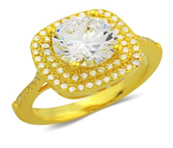 ZDR3109-G  925 STERLING GOLD PLATED CUBIC ZIRCONIA ENGAGEMENT RING