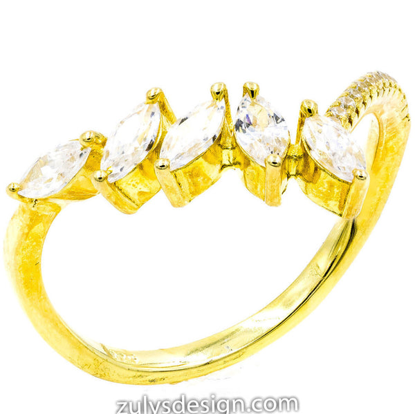 ZDR428-G  925 STERLING SILVER GOLD PLATED CLEAR CUBIC ZIRCONIA RING