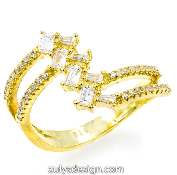 ZDR431-G STERLING SILVER 925 GOLD PLATED CLEAR BAGUETTE CUBIC ZIRCONIA RING