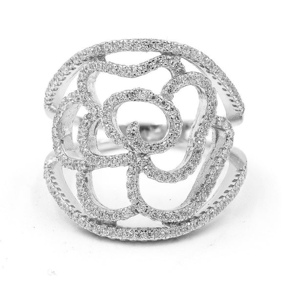 ZDR4709  925 STERLING SILVER FLOWER DESIGN CUBIC ZIRCONIA RING