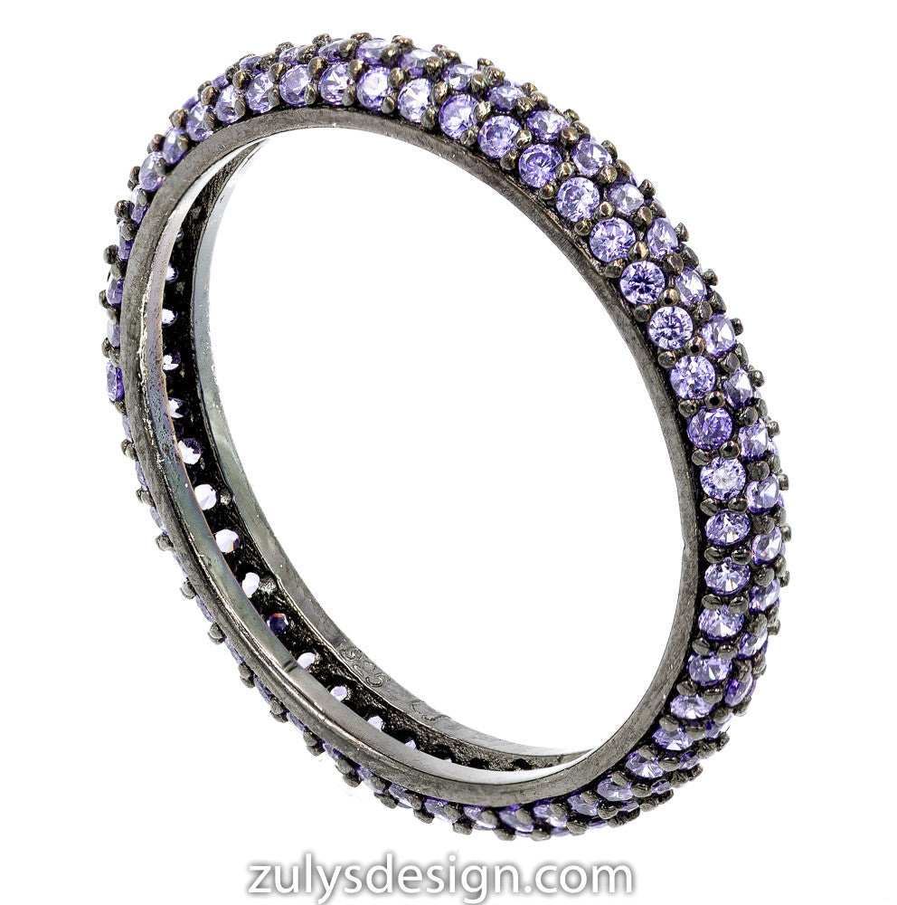 ZDR990-BP  STERLING SILVER 925 BLACK RHODIUM PLATED STACKABLE PURPLE CZ RING