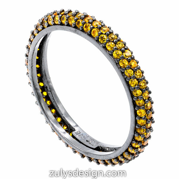ZDR990-BY  STERLING SILVER 925 BLACK RHODIUM PLATED STACKABLE YELLOW CZ RING
