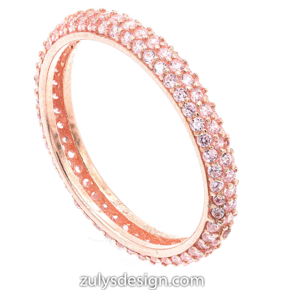 ZDR990-RPK  STERLING SILVER 925 ROSE GOLD PLATED STACKABLE PINK CZ RING