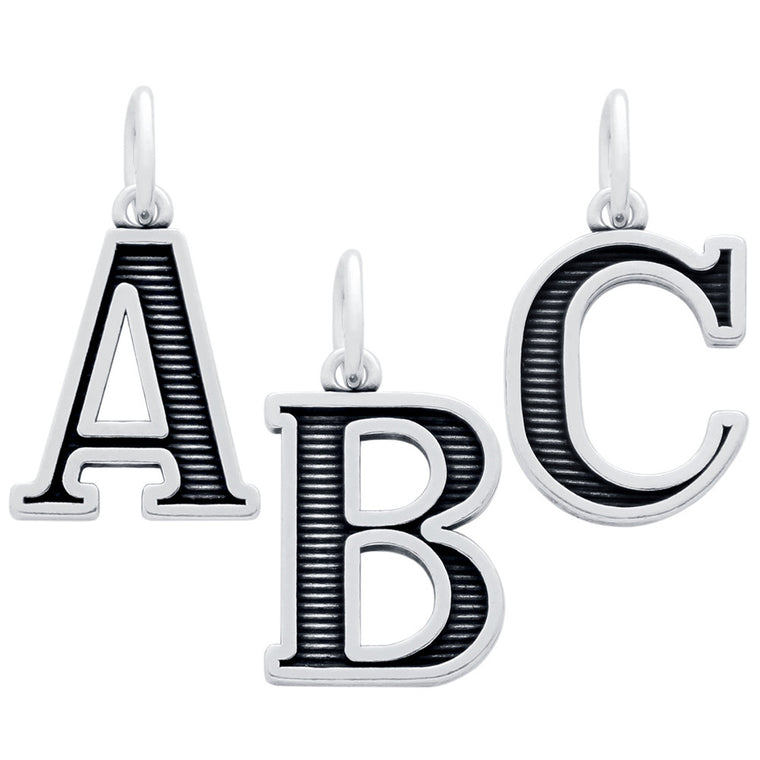 ZDC063  OXIDIZED STERLING SILVER UPPERCASE INITIALS CHARM