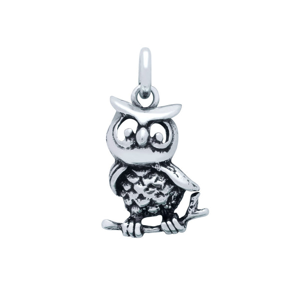 ZDC1480 STERLING SILVER OWL ON A BRANCH CHARM
