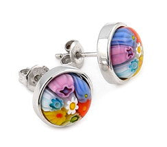 ZDE17C4 STERLING SILVER 925 MULTICOLOR MILLEFIORI 10MM ROUND STUD EARRINGS