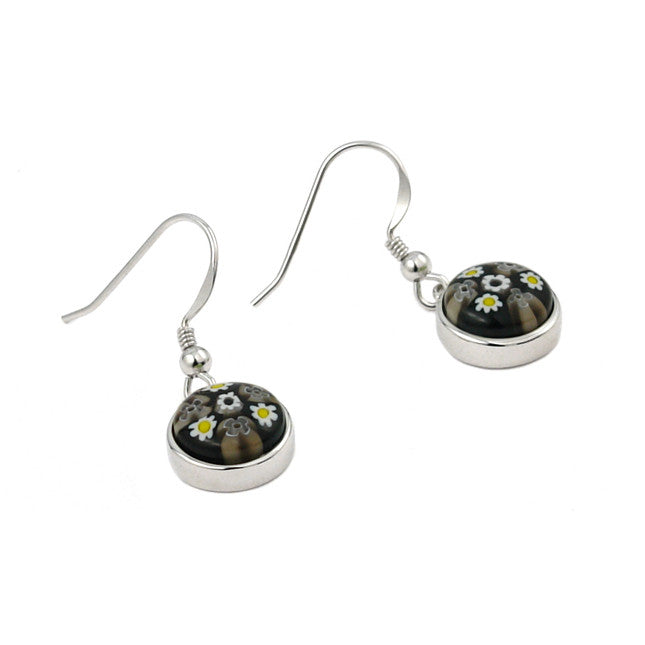 ZDE13C6 MILLEFIORI BLACK AND WHITE 10MM ROUND EARRINGS