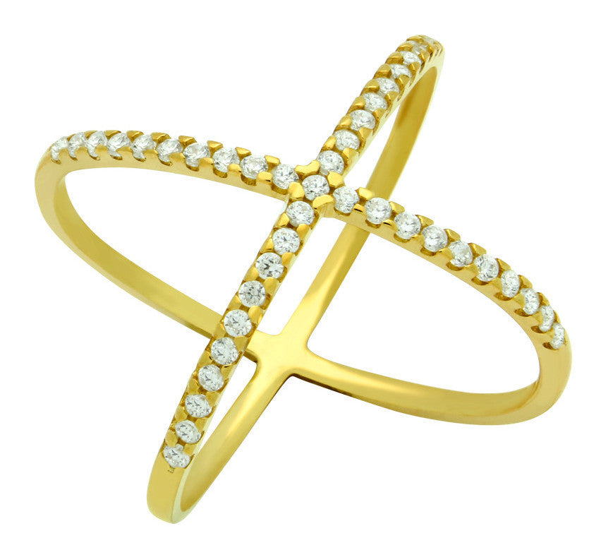 ZDR1100-G  STERLING SILVER 925 GOLD PLATED X DESIGN RING WITH CZ