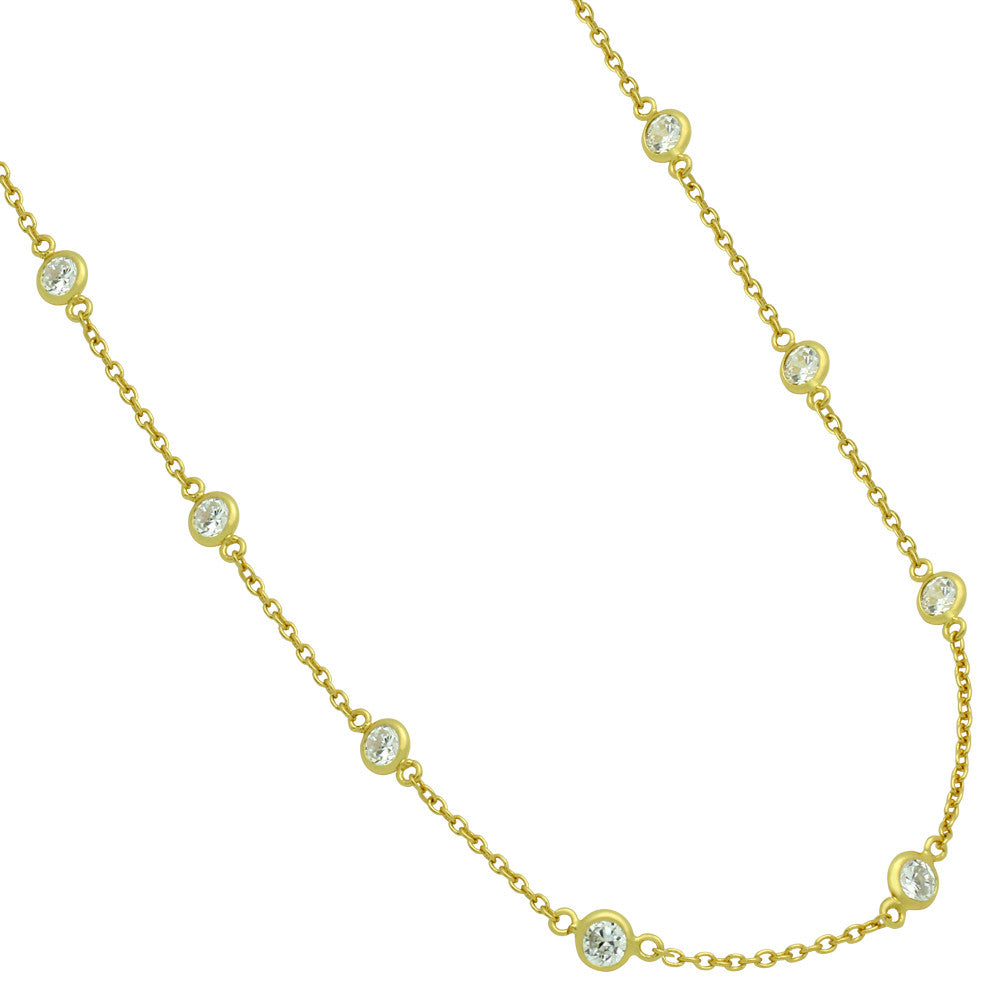 ZDN1859-G STERLING SILVER 925 GOLD PLATED 5MM BEZEL CZ BY THE YARD NECKLACE 42""