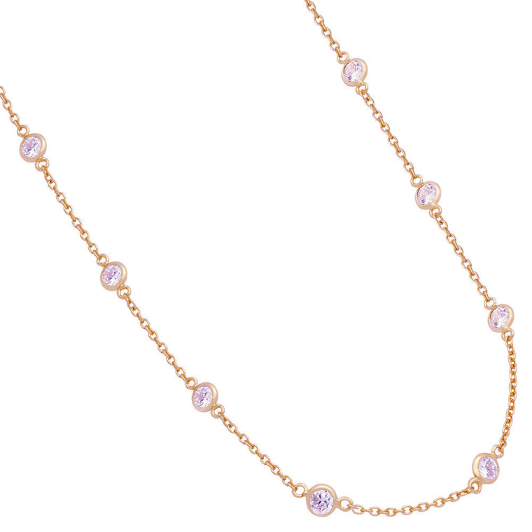 ZDN1859-RG STERLING SILVER 925 ROSE GOLD PLATED 5MM BEZEL CZ BY THE YARD NECKLACE 42