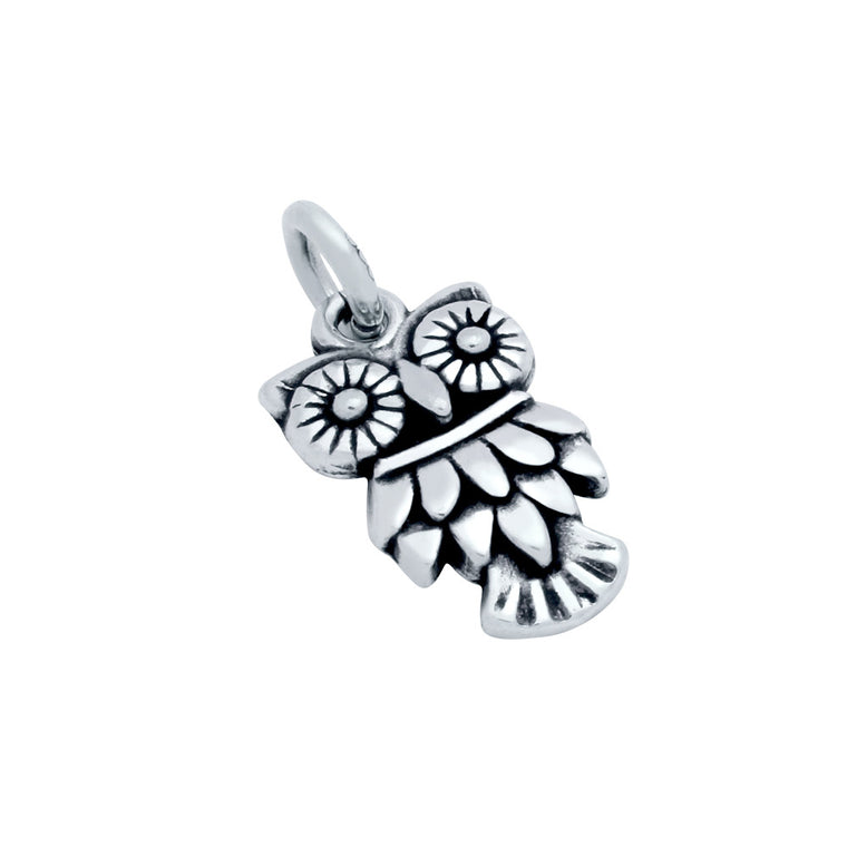 ZDC1479  STERLING SILVER OWL CHARM