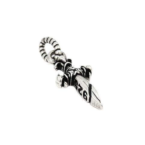 ZDP22S  TWISTED BLADE SMALL 10MM SILVER DAGGER PENDANT