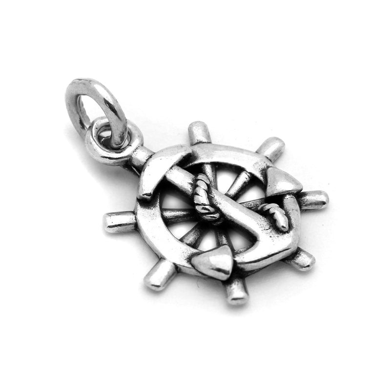 ZDC1513  STERLING SILVER ANCHOR AND HELM CHARM