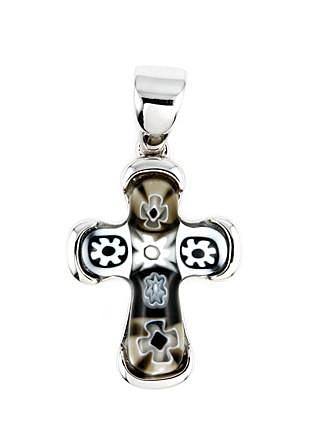ZDP1943  BLACK AND WHITE MILLEFIORI CROSS PENDANT