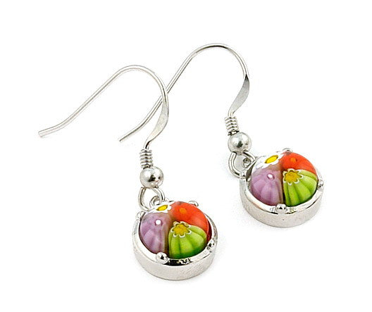 ZDE165 MULTI COLOR MILLEFIORI 8MM ROUND EARRINGS