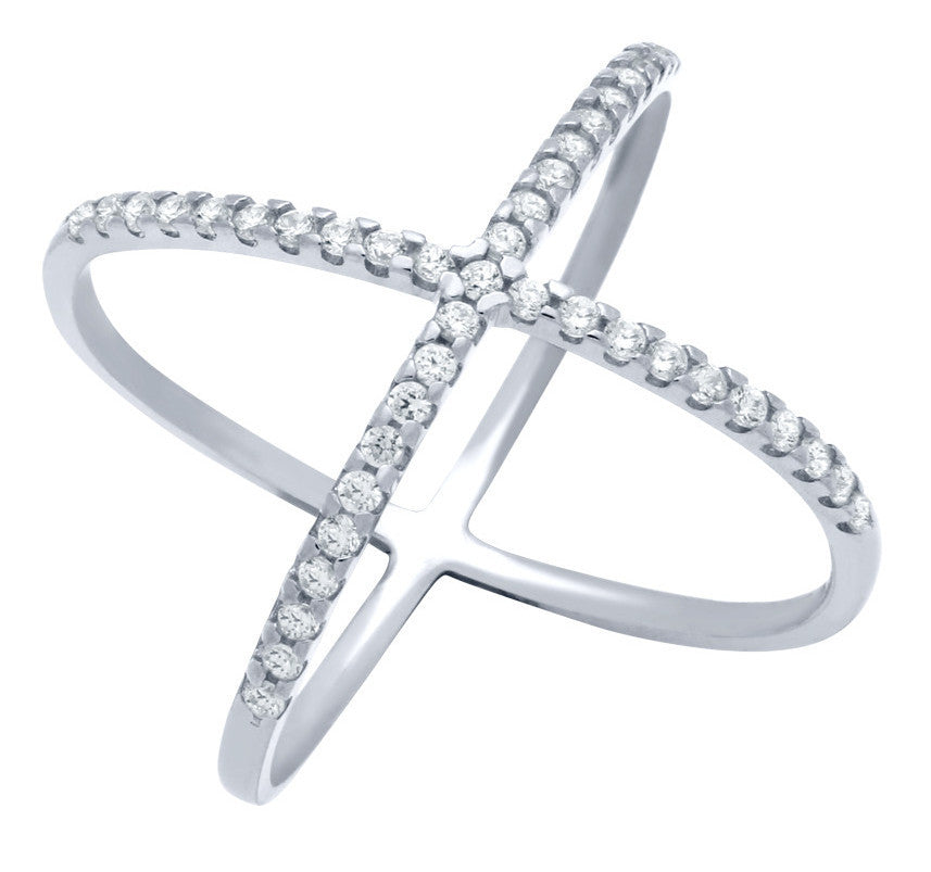 ZDR1100 STERLING SILVER 925 RHODIUM PLATED X DESIGN RING WITH CZ