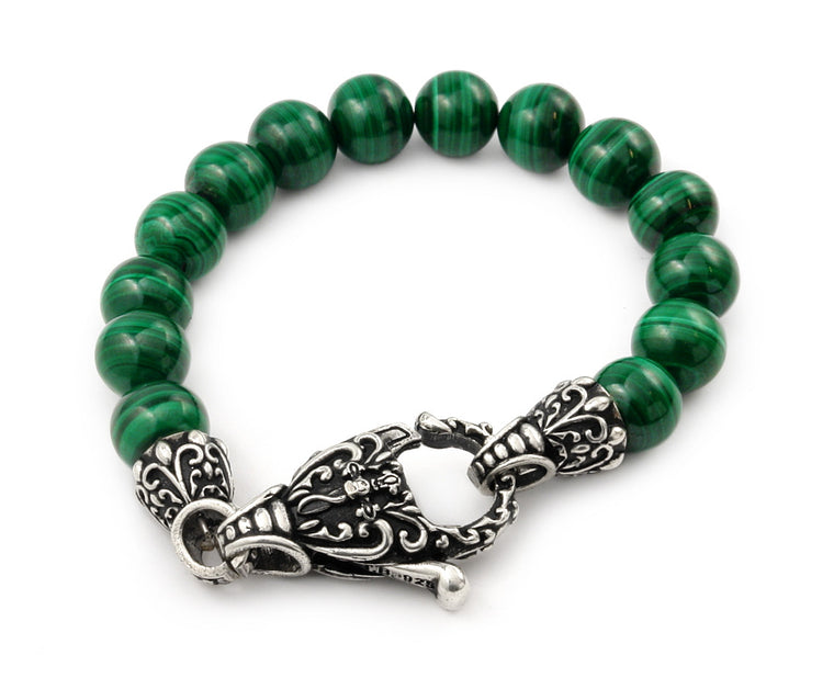 ZDB84S  TWISTED BLADE INTRICATE MALACHITE BEAD BRACELET