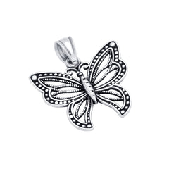 ZDP1437 STERLING SILVER 20MM INTRICATE BUTTERFLY PENDANT