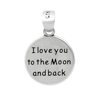 ZDC1140 STERLING SILVER MOON AND STAR ROUND PENDANT