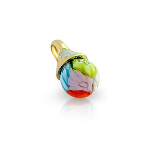 ZDP3252  GOLD PLATED ROUND MULTICOLOR MILLEFIORI BALL PENDANT