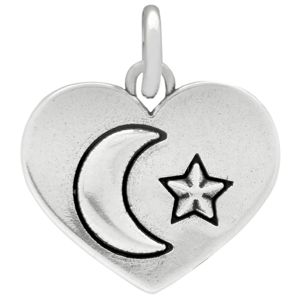 ZDC1187  MOON AND STAR SILVER HEART CHARM