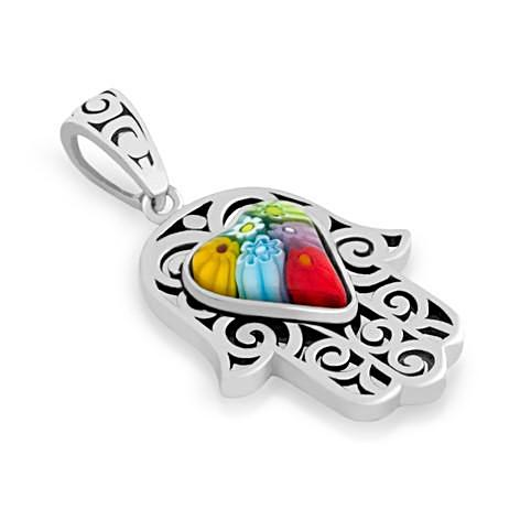 ZDP3580  MULTICOLOR MILLEFIORI HEART CENTER ON FILIGREE HAMSA PENDANT
