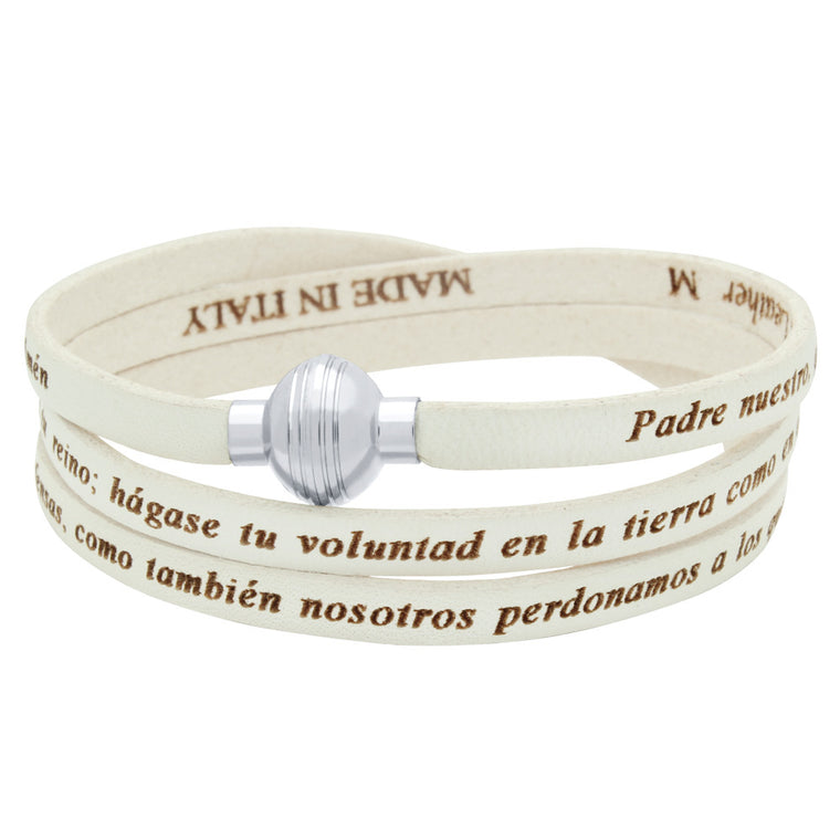 ZDW1002-WHT  WHITE PADRE NUESTRO (LORD'S PRAYER) ENGRAVED LEATHER WRAP BRACELET