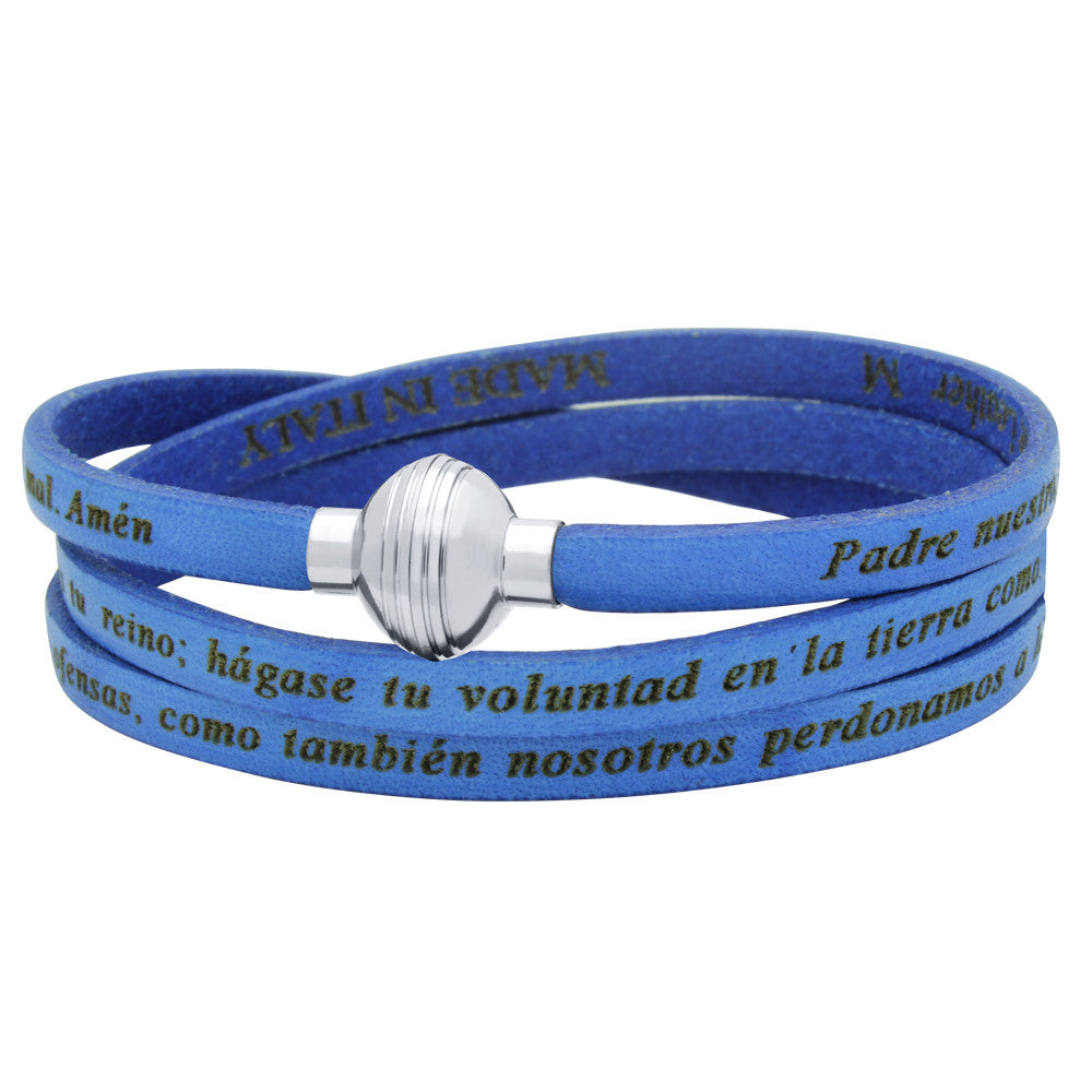ZDW1002-BLU  BLUE PADRE NUESTRO (LORD'S PRAYER) ENGRAVED LEATHER WRAP BRACELET