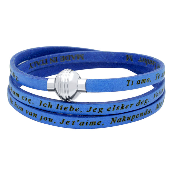 "ZDW1000-BLU  BLUE ""I LOVE YOU"" LEATHER WRAP BRACELET ENGRAVED IN 23 LANGUAGES"