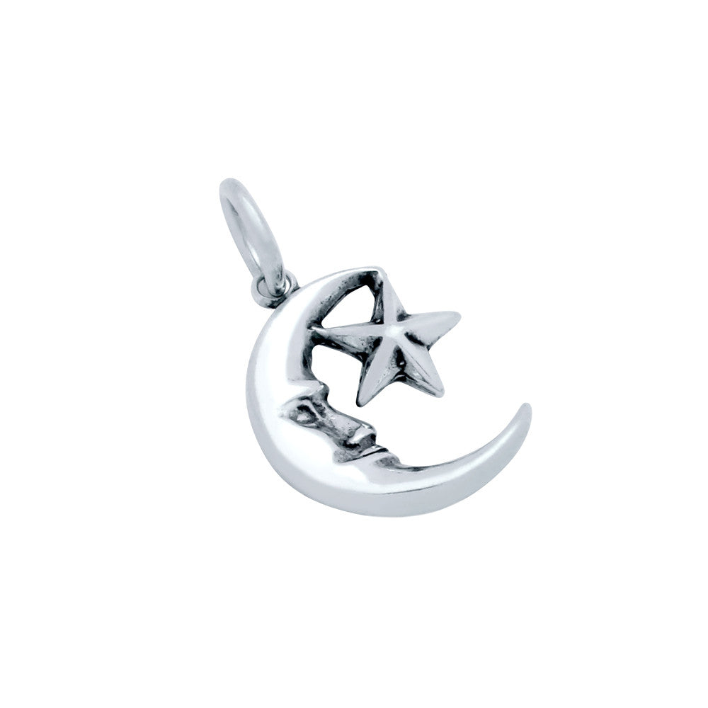 ZDC1442 STERLING SILVER CRESCENT MOON AND STAR CHARM