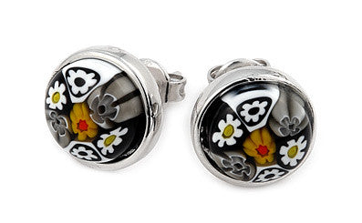 ZDE17C6 BLACK AND WHITE MURANO MILLEFIORI 10MM ROUND STUD EARRINGS