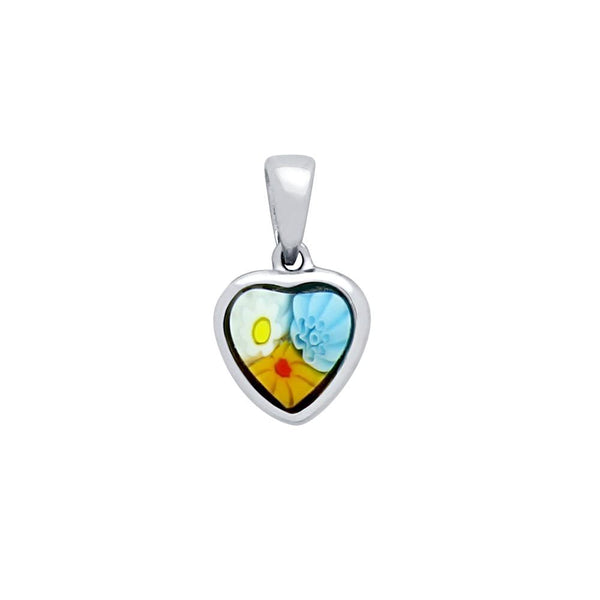 ZDP4110  MULTICOLOR MILLEFIORI 7x7MM HEART SHAPED PENDANT