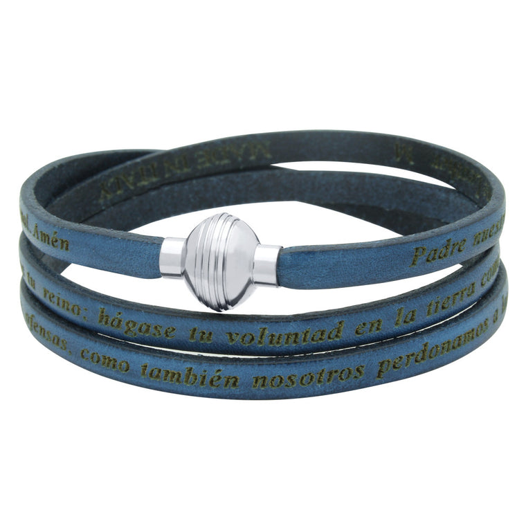 ZDW1002-DKB  DARK BLUE PADRE NUESTRO (LORD'S PRAYER) ENGRAVED LEATHER WRAP BRACELET