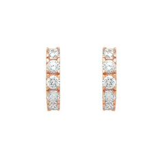 ZDE1868-RG STERLING SILVER 925 ROSE GOLD PLATED FINISH 15MM ROUND HUGGIE CZ EARRINGS