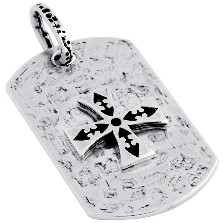 ZDPT048  HAMMER FINISH MALTESE CROSS DOG TAG