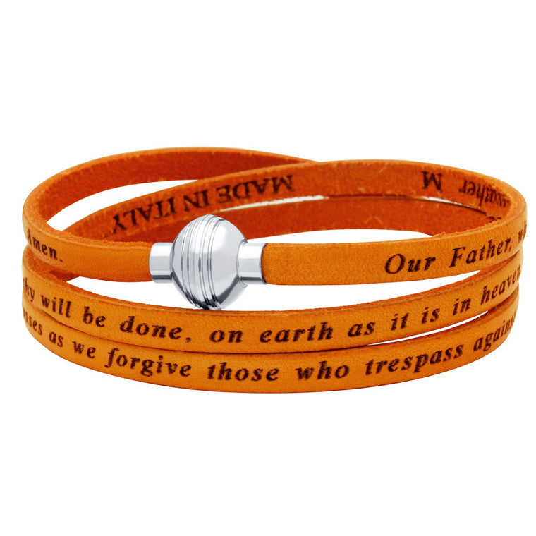 ZDW1001-ORG  ORANGE LORD'S PRAYER ENGRAVED LEATHER WRAP BRACELET
