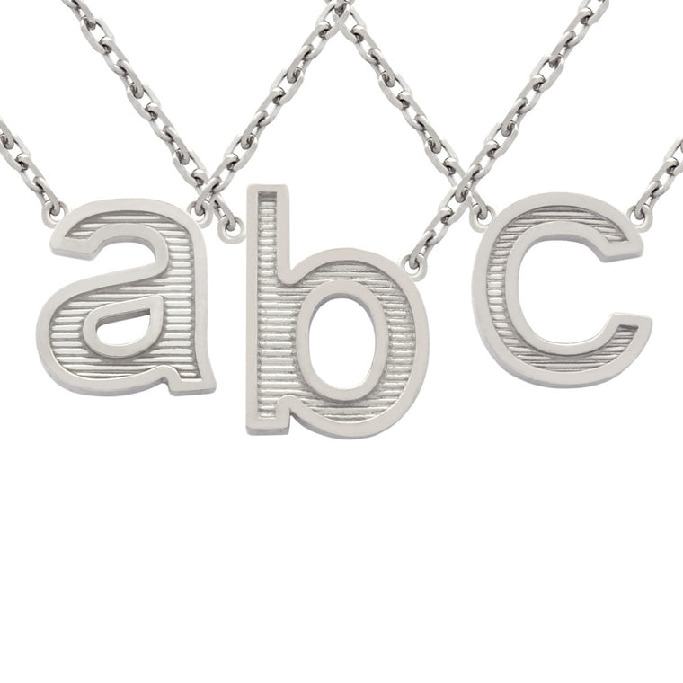 ZDN165  RHODIUM PLATED LOWERCASE INITIALS NECKLACE 16