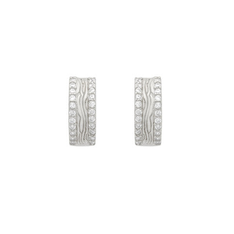 ZDE1871-SL  RHODIUM PLATED FINISH DOUBLE ROW CZ 14MM ROUND HUGGIE EARRINGS
