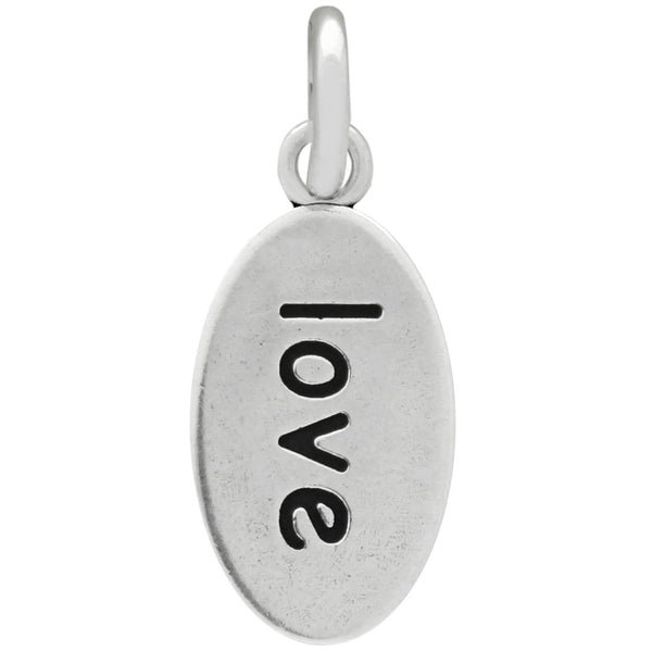 ZDC1184  OVAL HEART AND LOVE SILVER CHARM