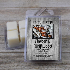 Amber & Driftwood Soy Wax Melts - Cherry Pit Crafts