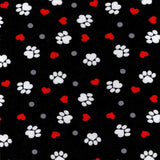 Cherry Pit Heating Pad - Paw Prints And Hearts On Black