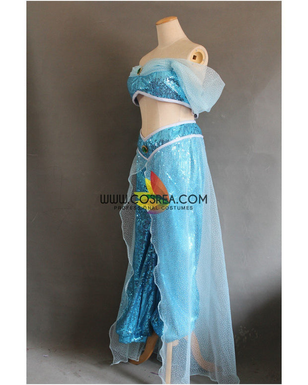 Cosrea Disney Aladdin Jasmine Sequin Fabric Cosplay Costume
