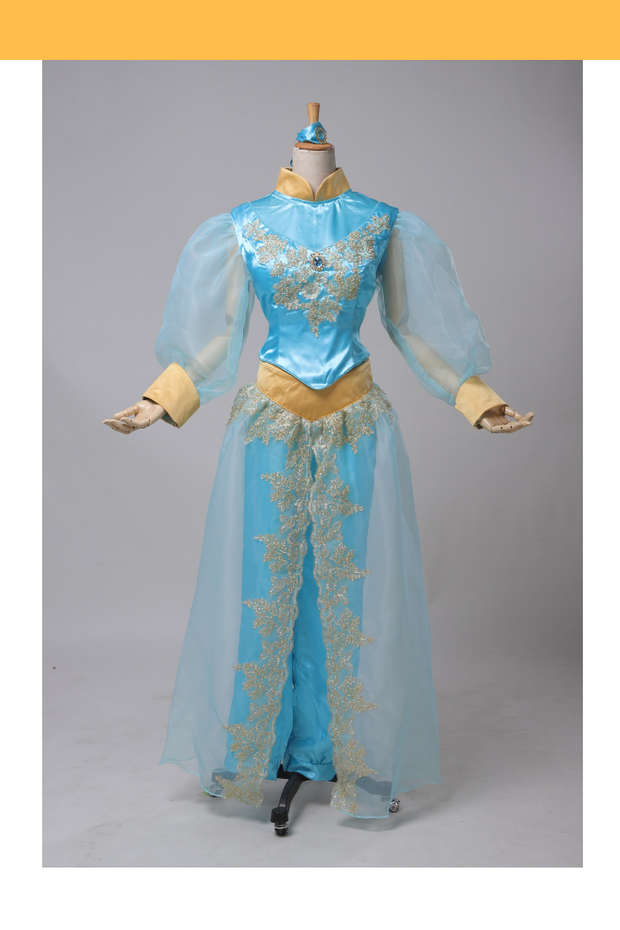 Aladdin Princess Jasmine Satin With Tulle Sleeves Cosplay Costume - Cosrea Cosplay